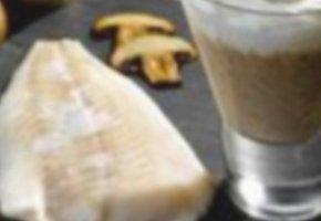 cabillaud et cappuccino de champignons