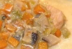 duo de saumon et colin (lieu), purée fine de patates douces