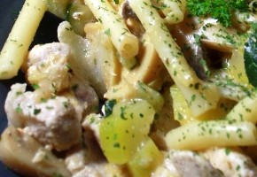 macaronis aux courgettes et cèpes