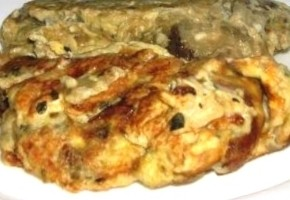 omelette au fromage blanc et aubergines