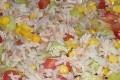 salade de riz au mais, thon, poivron et tomate