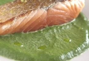 saumon poêlé et sa crème de cresson