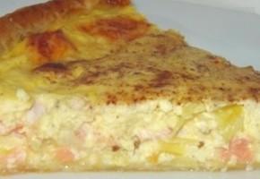 tarte au saumon, poireau et graines d'anis vert
